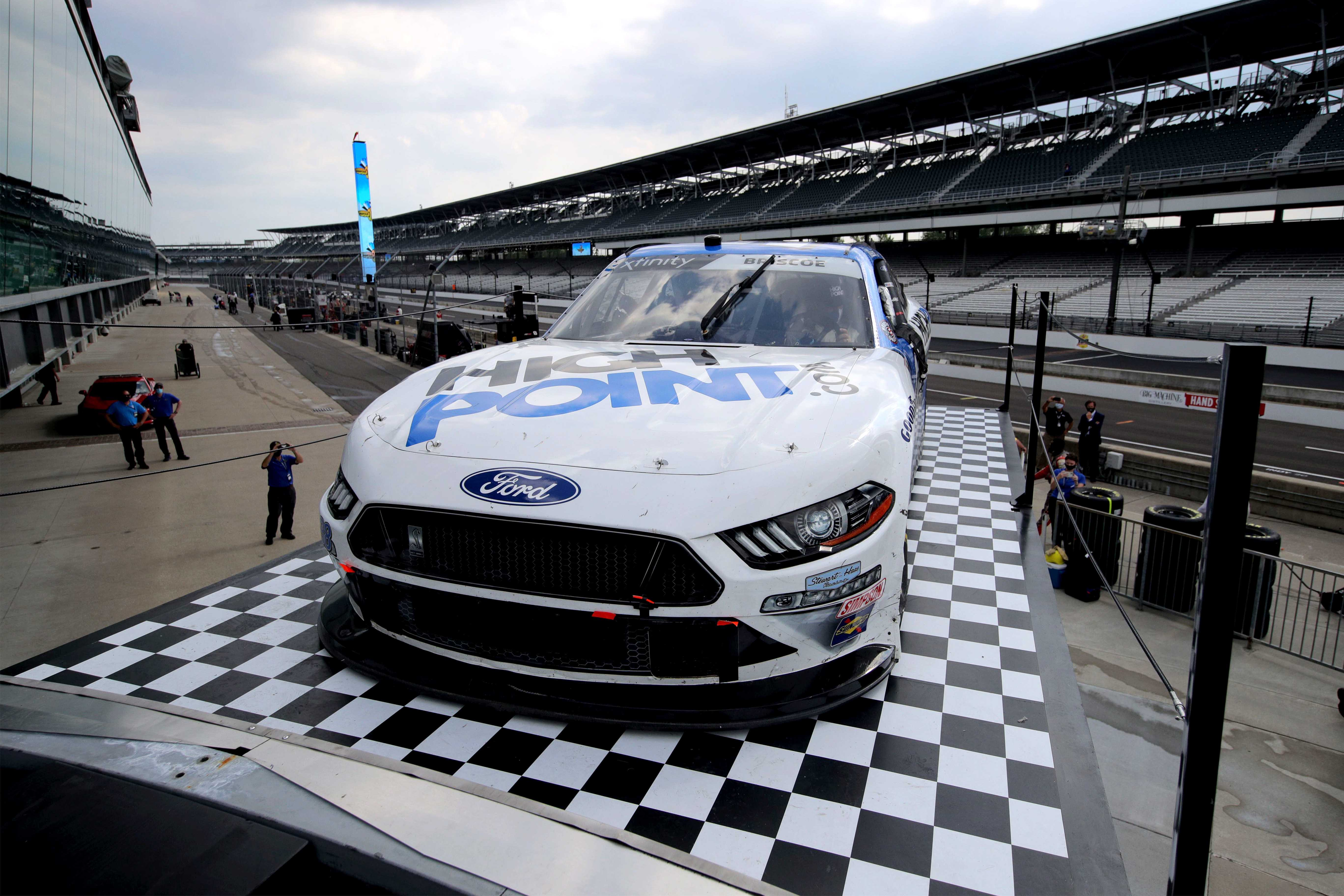 Chase Briscoe in victory lane at Indianapolis Motor Speedway - NASCRA Xfinity Series