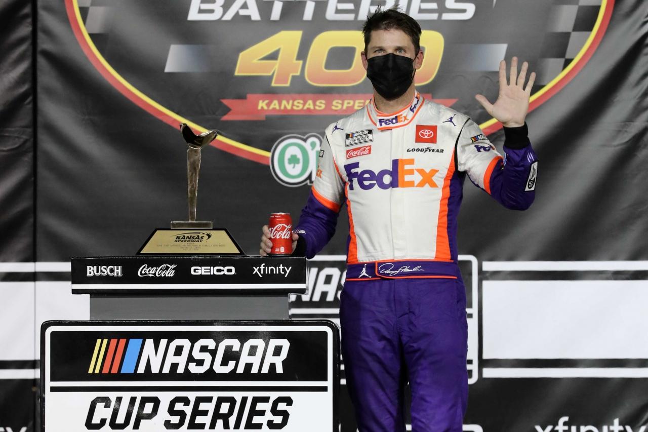 Denny Hamlin in victory lane at Kansas Speedway - NASCAR Cup Series