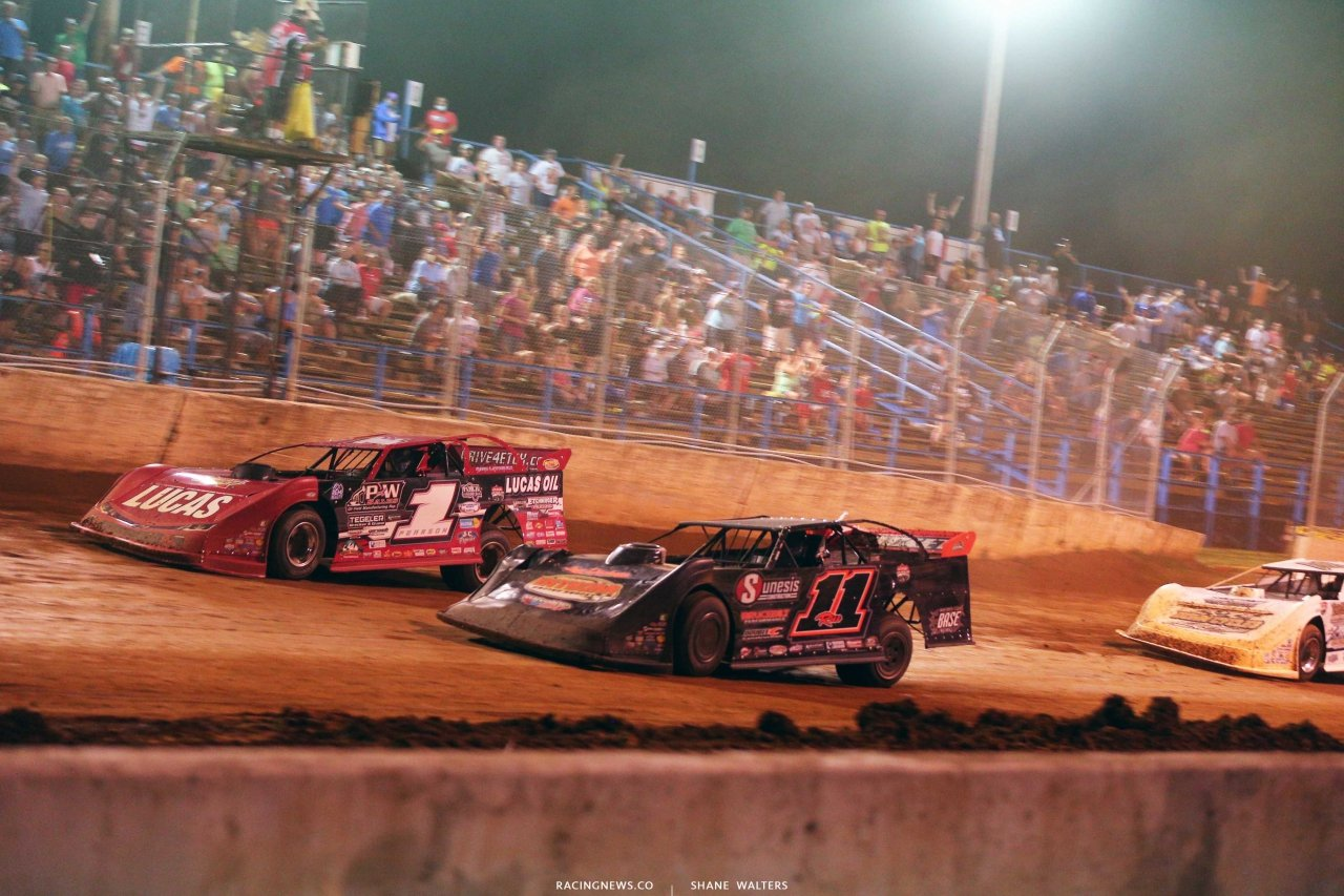 Earl Pearson Jr and Josh Rice - Photo finish at Florence Speedway - Lucas Oil Late Model Dirt Series 8445