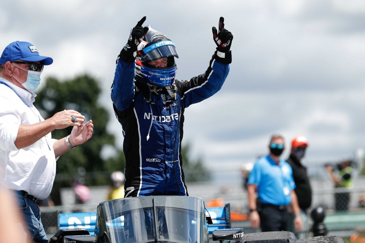 Felix Rosenqvist and Chip Ganassi in victory lane at Road America - NTT Indycar Series