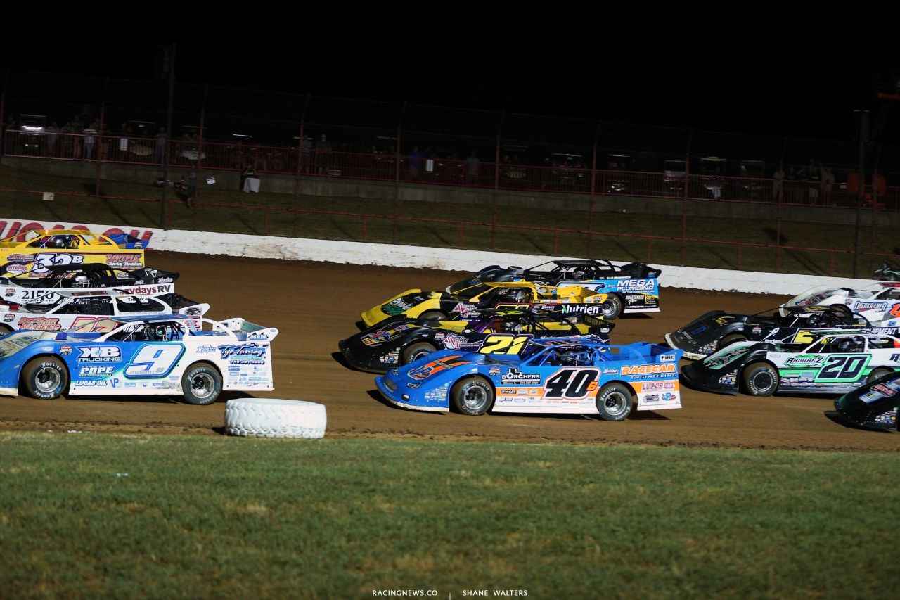Four wide salute at Lucas Oil Speedway 9720
