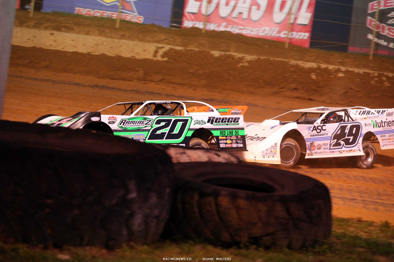 Jimmy Owens and Jonathan Davenport at Florence Speedway - Lucas Oil Late Model Dirt Series 8358