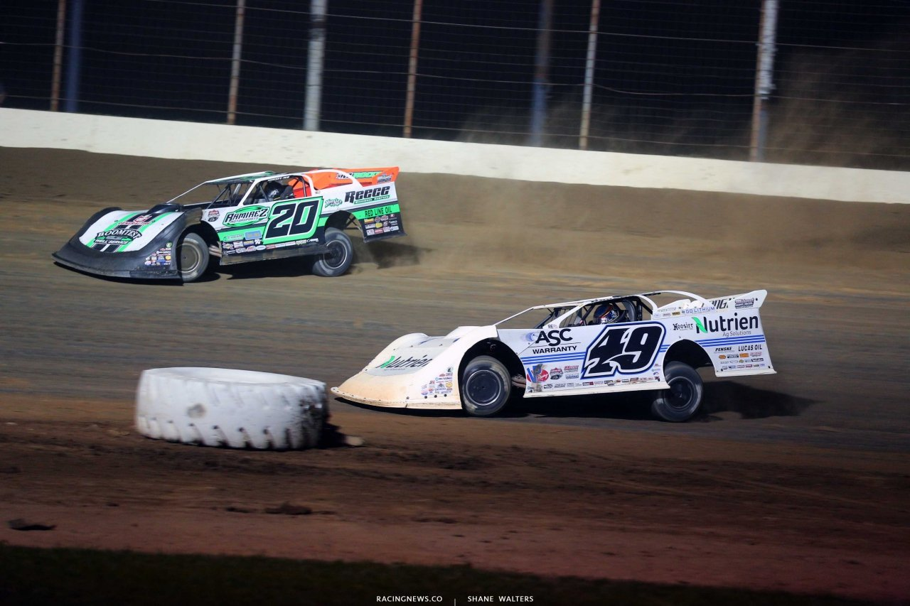 Jimmy Owens and Jonathan Davenport at Portsmouth Raceway Park - Lucas Late Models 8153