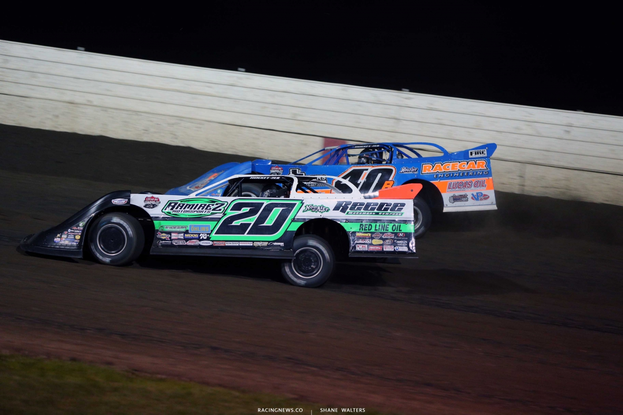 Jimmy Owens and Kyle Bronson at 300 Raceway in Farley Iowa - Lucas Series 8698