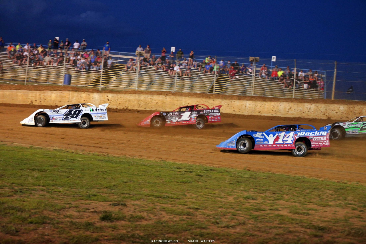 Jonathan Davenport, Earl Pearson Jr and Josh Richards at Florence Speedway - Lucas Oil Late Model Dirt Series 8319