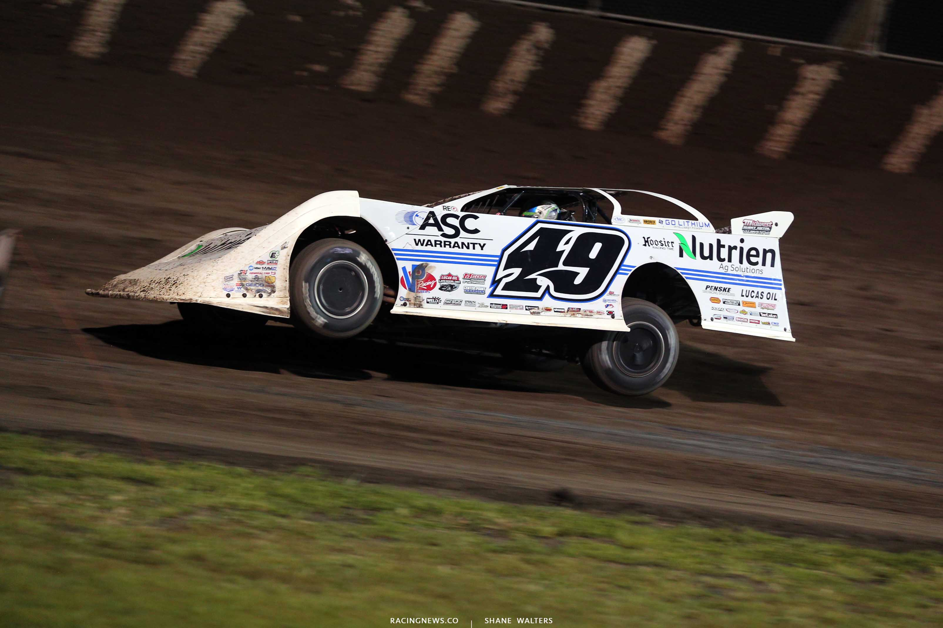 Jonathan Davenport on two wheels at Tri-City Speedway - Lucas Oil Late Models 8986