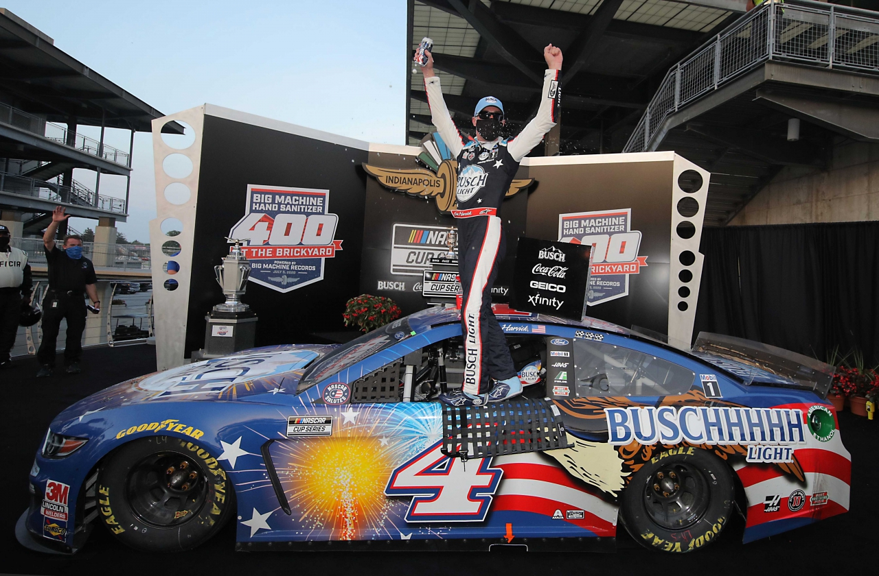 Kevin Harvick in victory lane at Indianapolis Motor Speedway - NASCAR