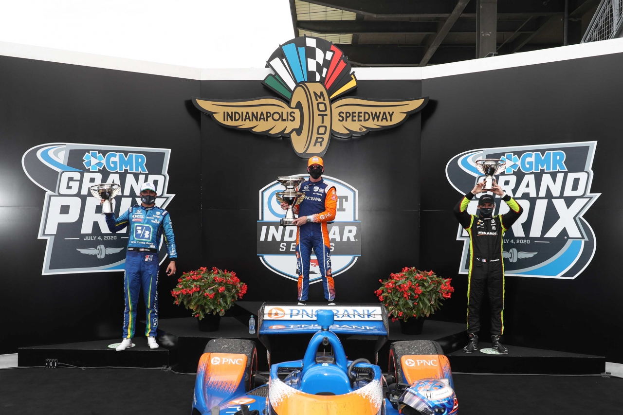 Scott Dixon wins the GMR Grand Prix at Indianapolis