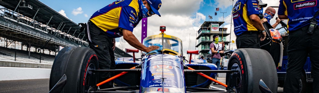 Indycar driver pranked in the bus lot as they await Indy 500
