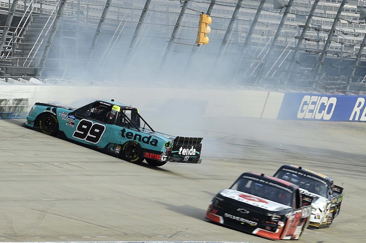 Ben Rhodes spins - NASCAR Truck Series at Dover International Speedway