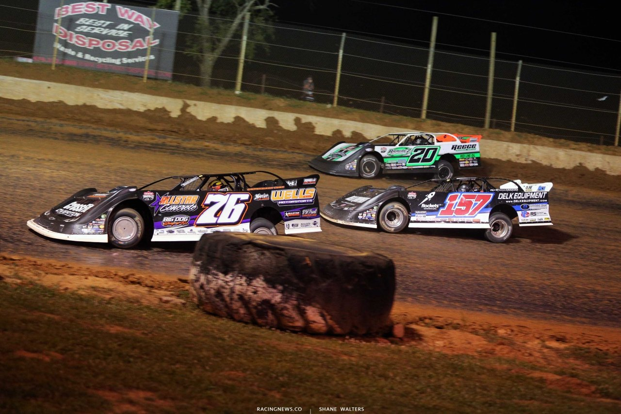 Brandon Overton, Mike Marlar and Jimmy Owens at Florence Speedway - North Soth 100 - Lucas Late Models 1304