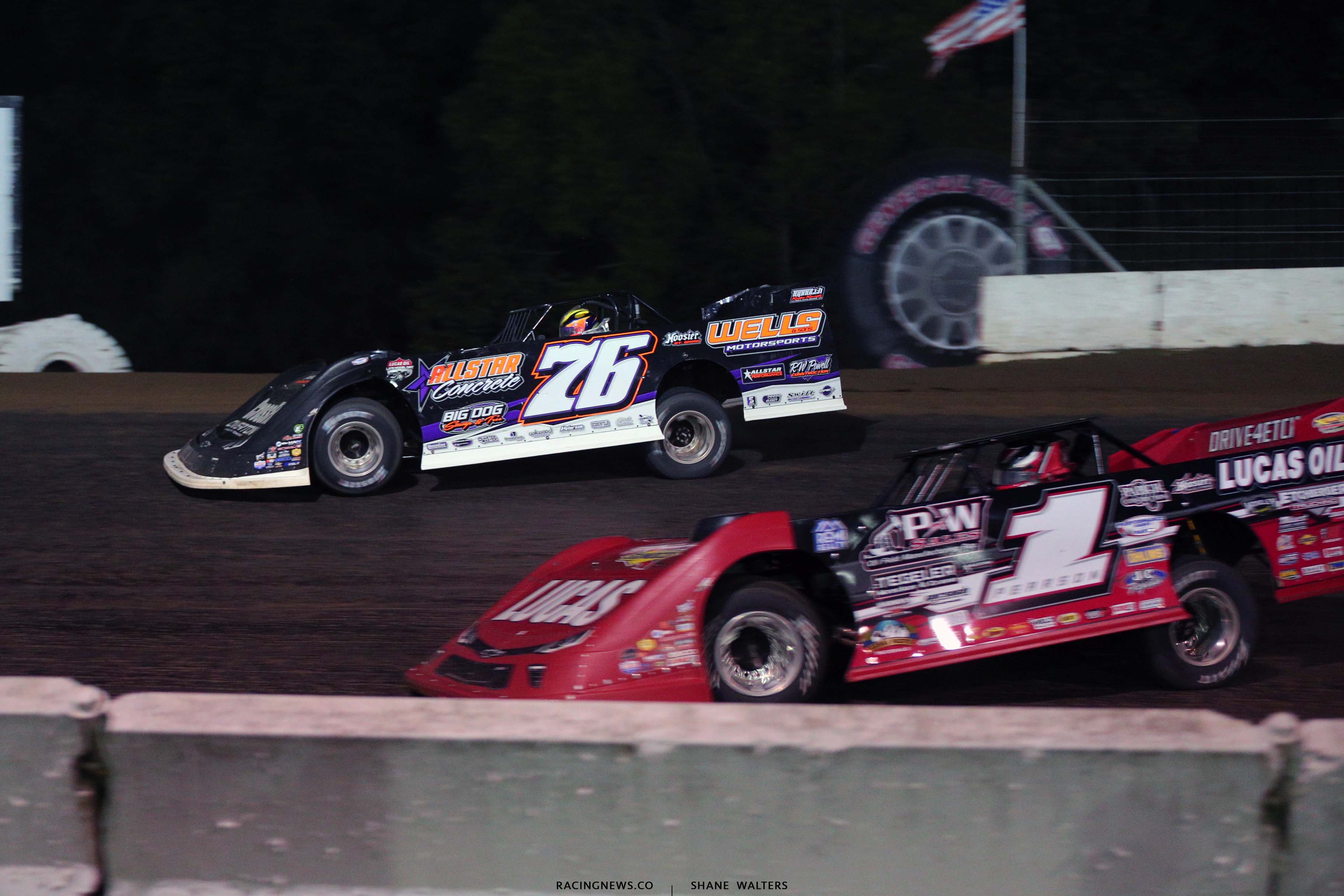 Brandon Overton and Earl Pearson Jr at Batesville Motor Speedway - Topless 100 - Lucas Series 2161