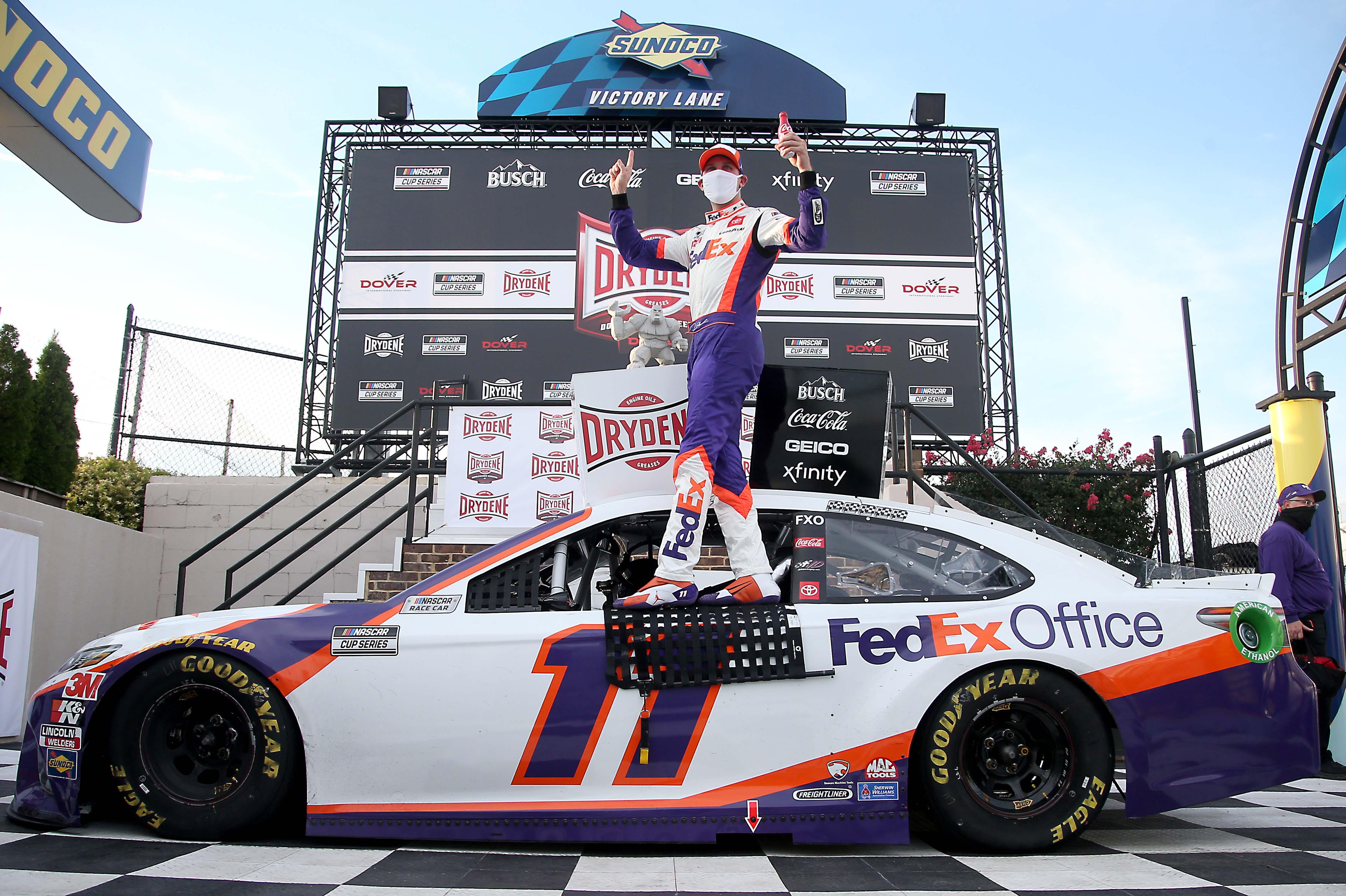 Denny Hamlin in victory lane - Dover International Speedway - NASCAR Cup Series