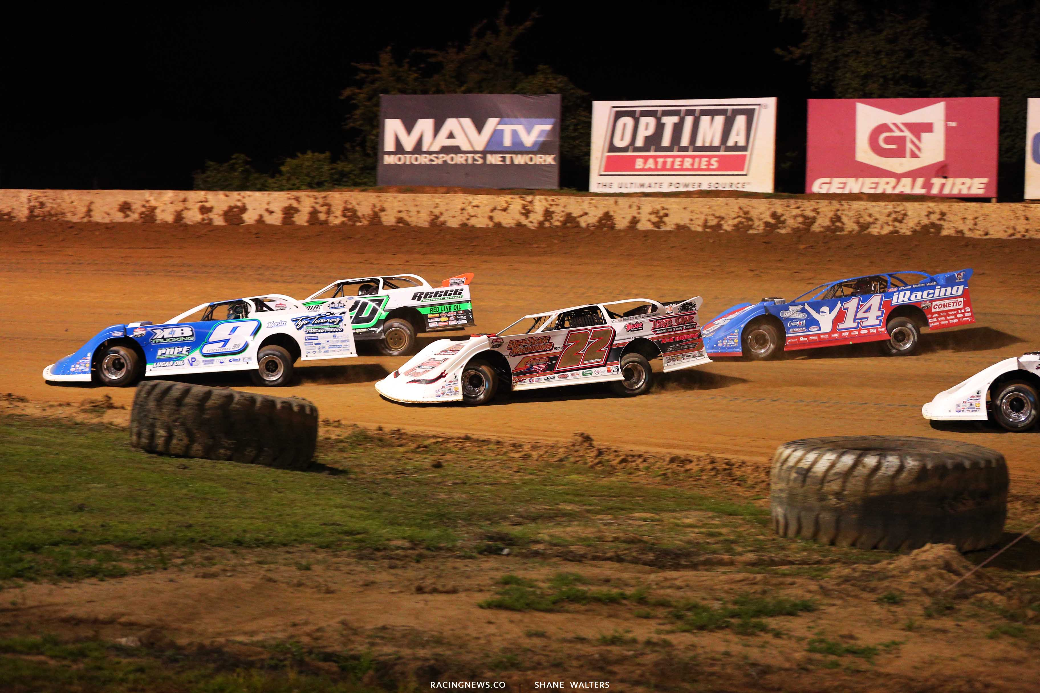 Devin Moran, Jimmy Owens, Chris Ferguson and Josh Richards at Florence Speedway - Lucas Oil Late Model Dirt Series 0792