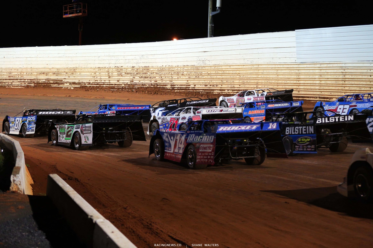 Four wide salute at Port Royal Speedway - Dirt Late Models 2744