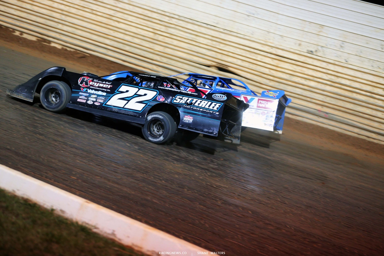 Gregg Satterlee and Brandon Sheppard at Port Royal Speedway - Dirt Late Model Racing 2878
