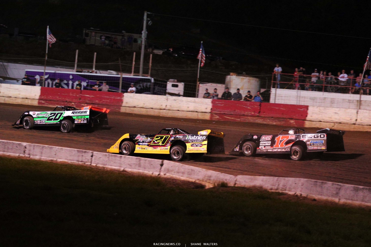 Jimmy Owens, Billy Moyer Jr and Dale McDowell at Batesville Motor Speedway - Topless 100 - Dirt Track Racing - Lucas 1736