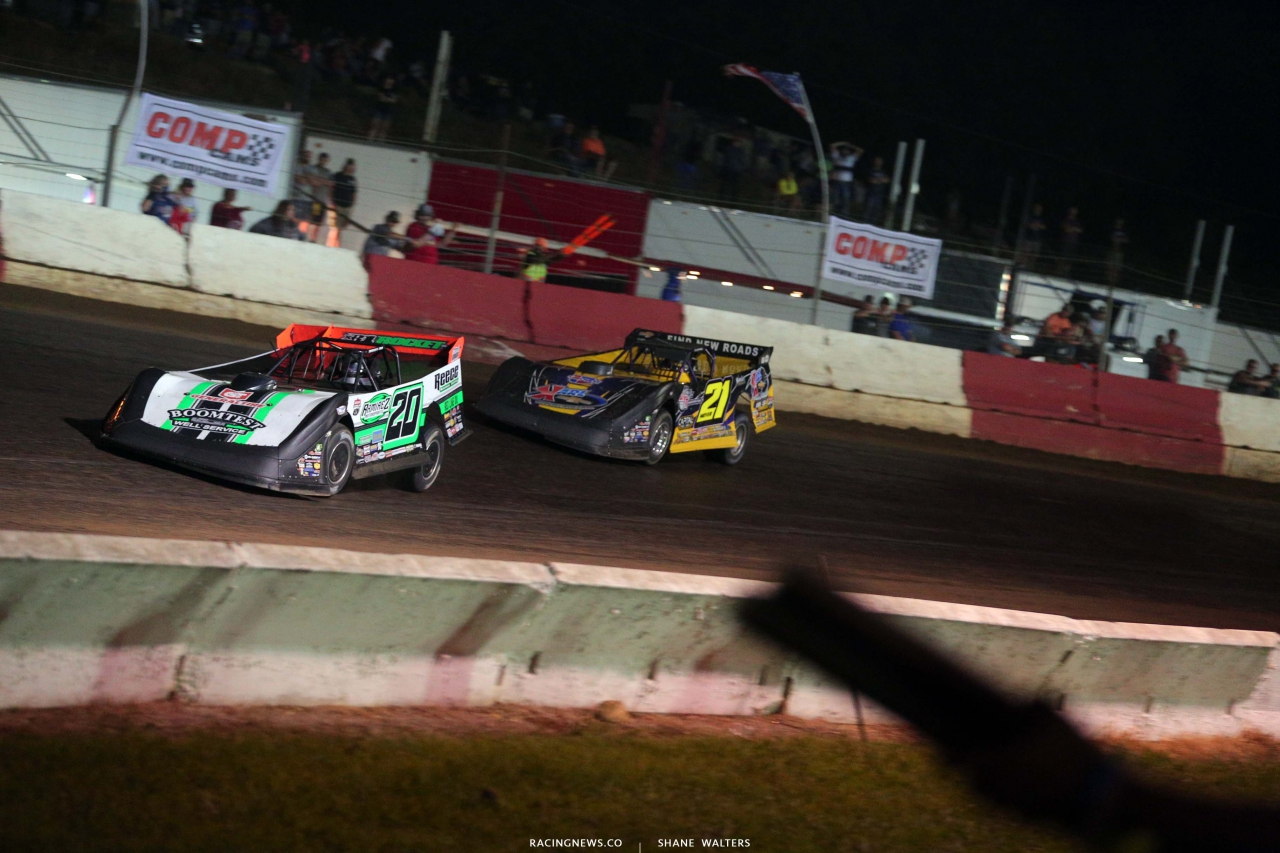 Jimmy Owens and Billy Moyer Sr at Batesville Motor Speedway - Topless 100 - Lucas Oil Late Model 2221