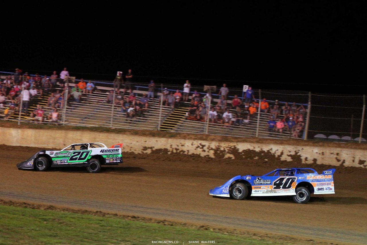 Jimmy Owens and Kyle Bronson at Florence Speedway - Lucas Oil Late Model Dirt Series - North South Shootout 1200