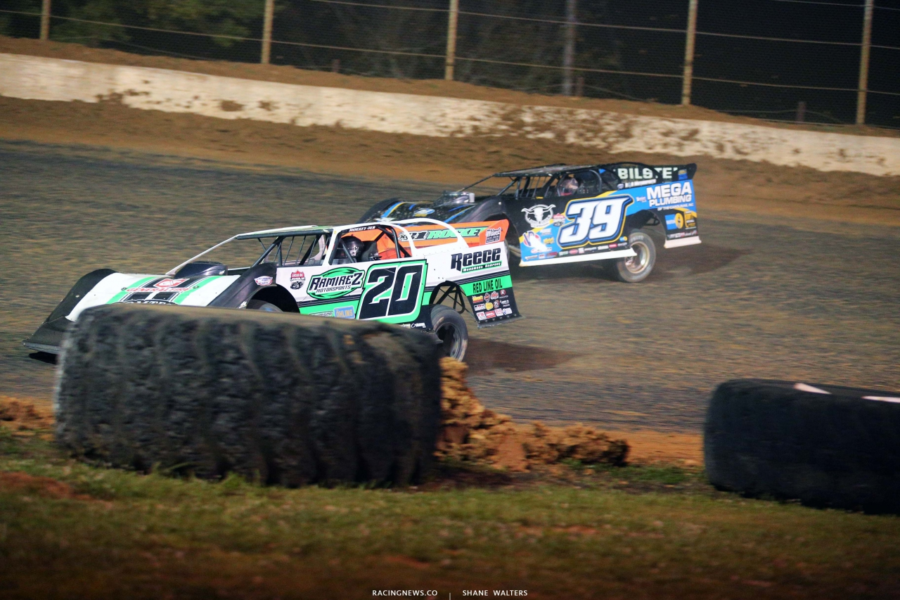 Jimmy Owens and Tim McCreadie in the North South 100 at Florence Speedway - Lucas Series 1629