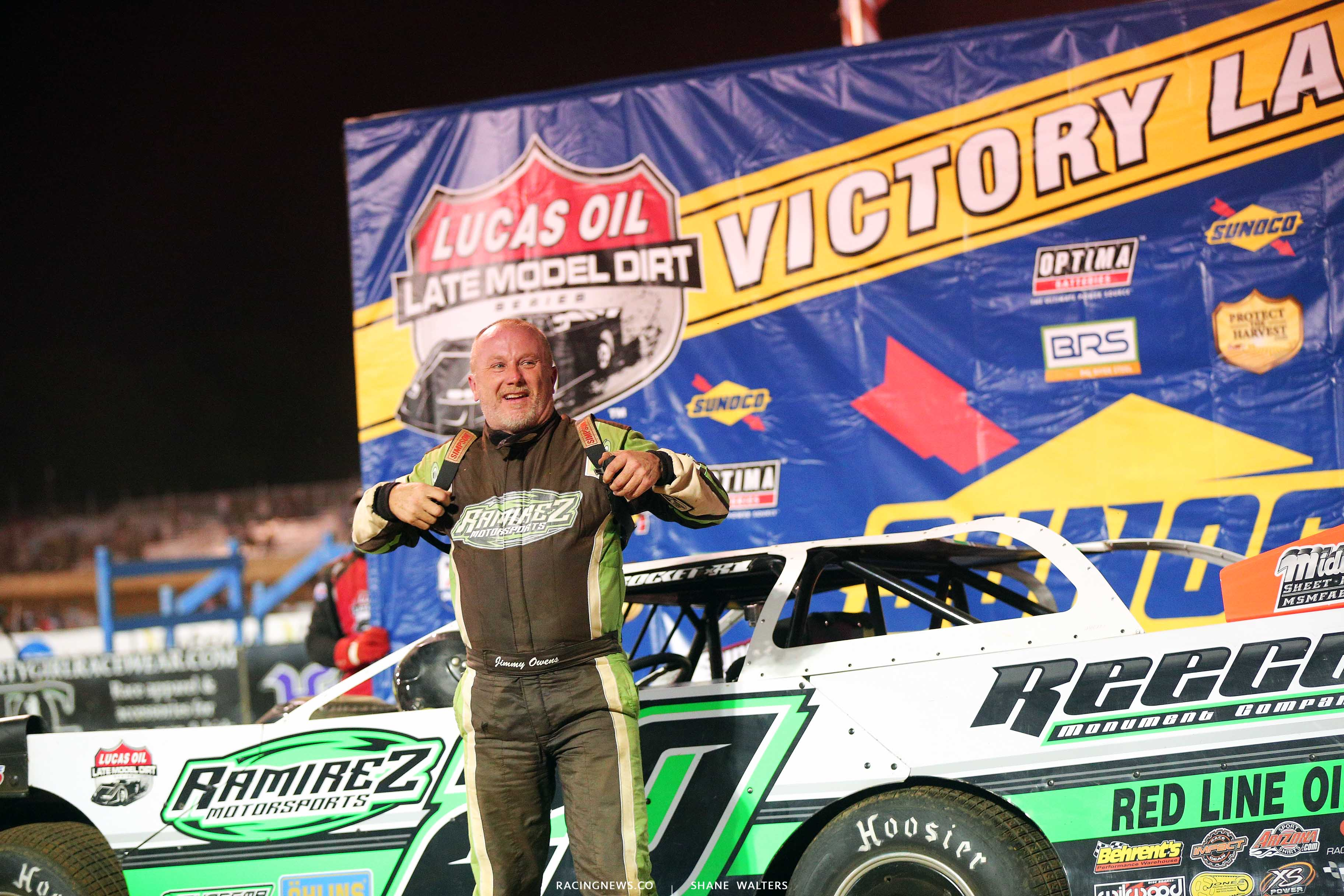 Jimmy Owens in Lucas Oil victory lane at Florence Speedway 0937