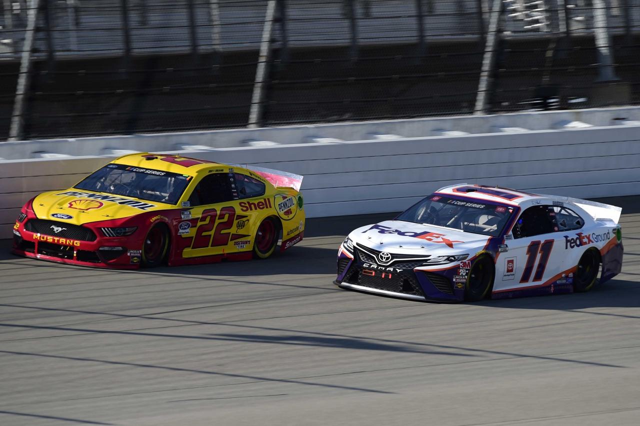 Joey Logano and Denny Hamlin at Michigan International Speedway - NASCAR Cup Series