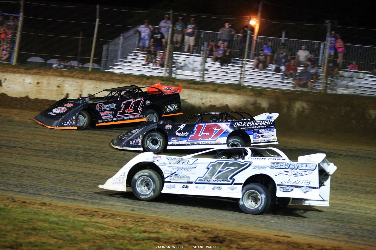 Josh Rice, Mike Marlar and Zack Dohm at Florence Speedway - Lucas Oil Late Model Dirt Series - Three Wide Dirt Late Model Racing 1262