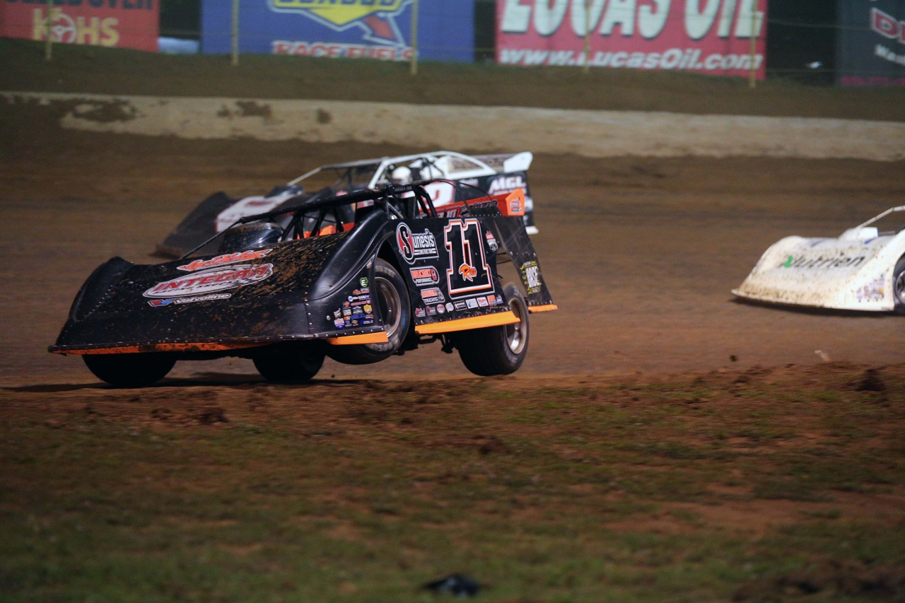 Josh Rice off the ground at Florence Speedway - Dirt Late Model 1429
