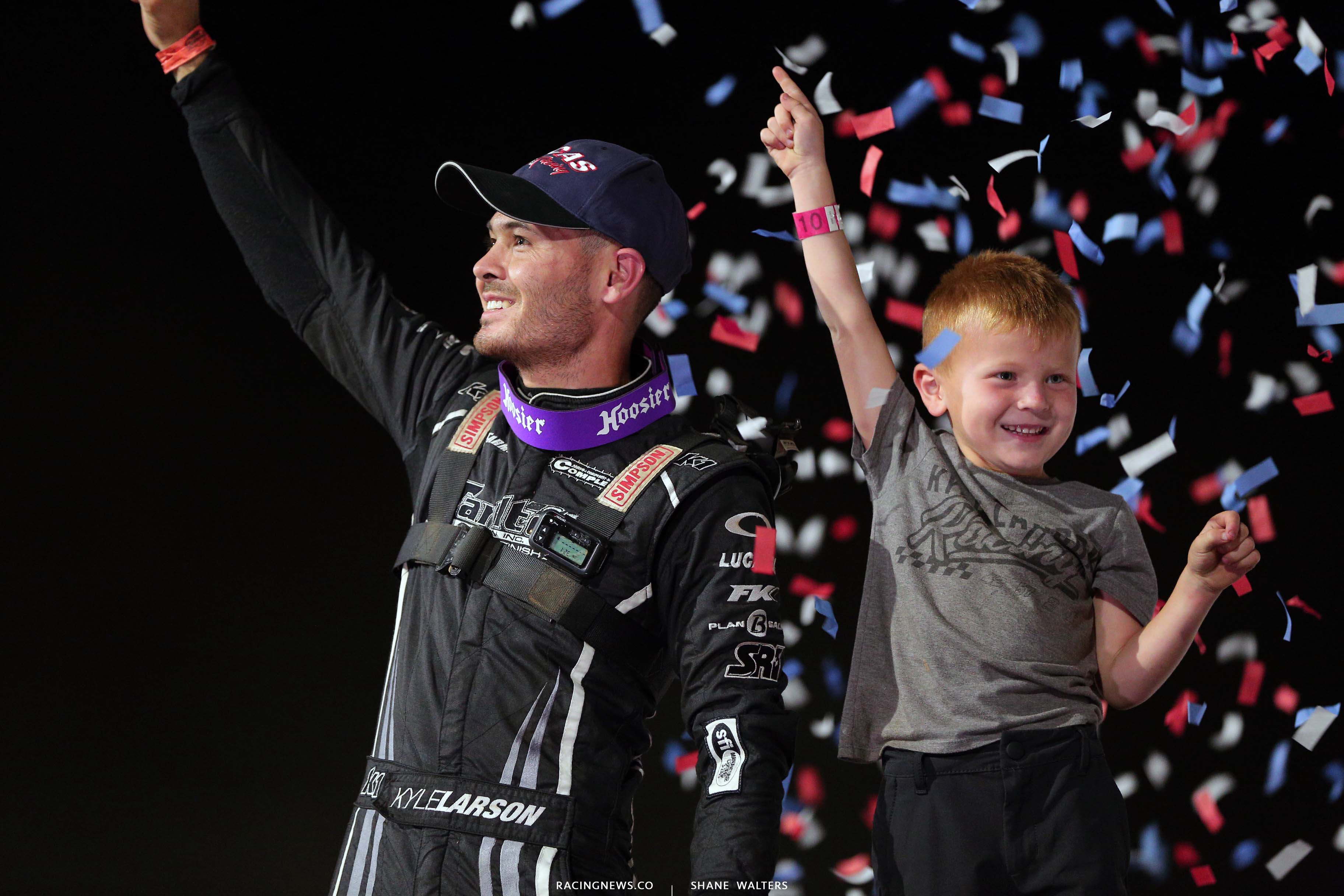 Kyle Larson and Owen Larson in victory lane at Port Royal Speedway 2990