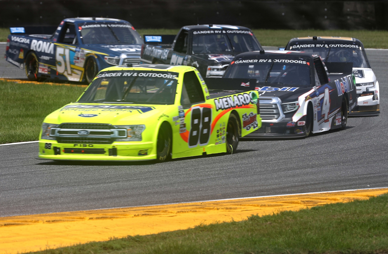 Matt Crafton and Raphael Lessard on the Daytona Road Course - NASCAR Truck Series