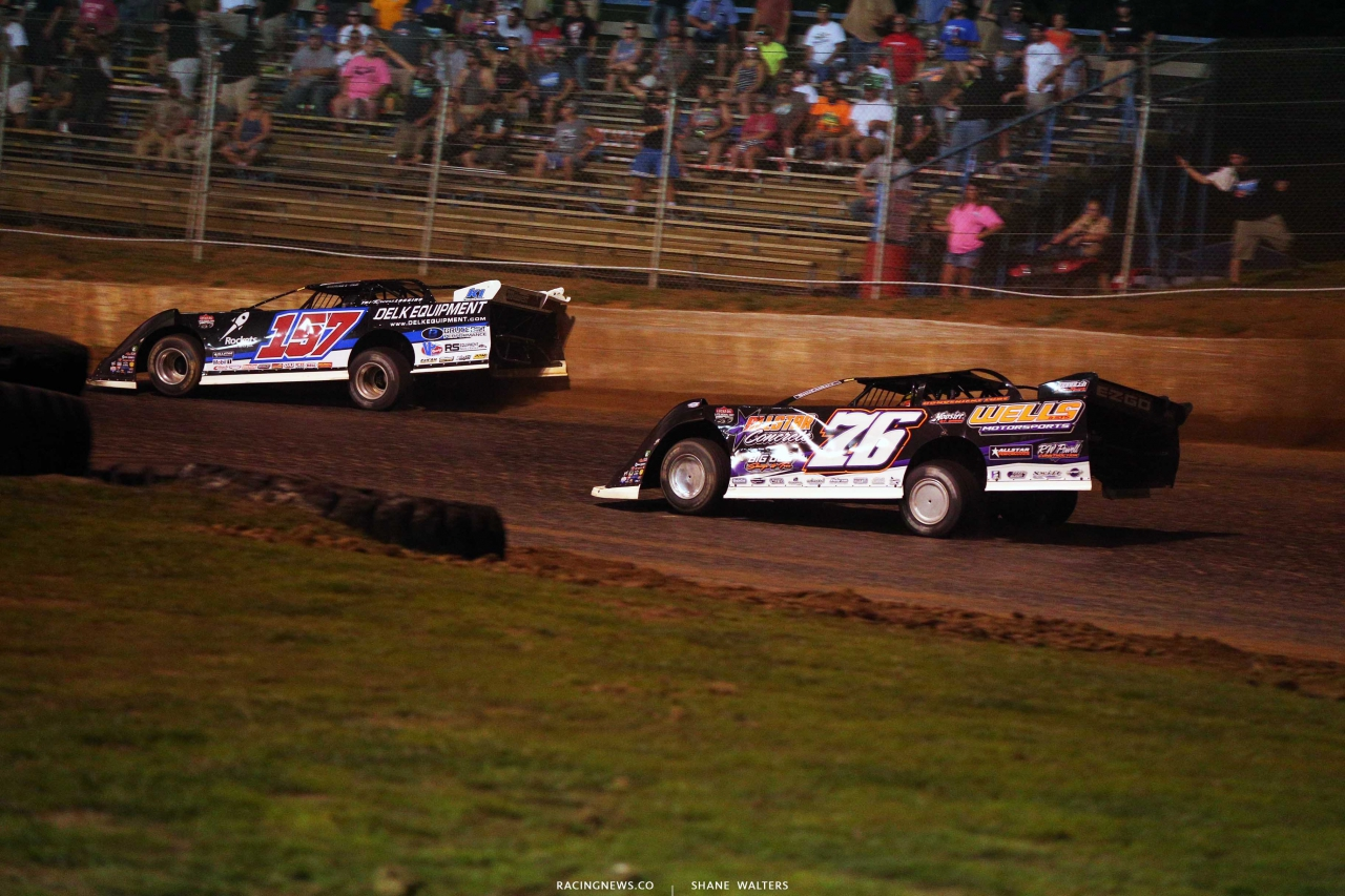 Mike Marlar and Brandon Overton at Florence Speedway in the North South Shootout - Lucas Oil Late Model Dirt Series 1329