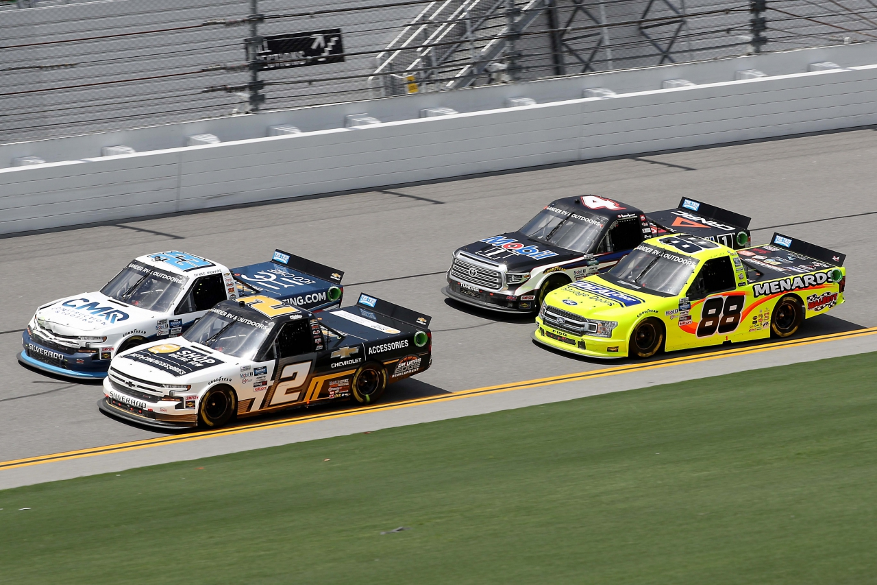 Sheldon Creed, Brett Moffitt, Matt Crafton, Raphael Lessard on the Daytona Road Course - NASCAR Truck Series