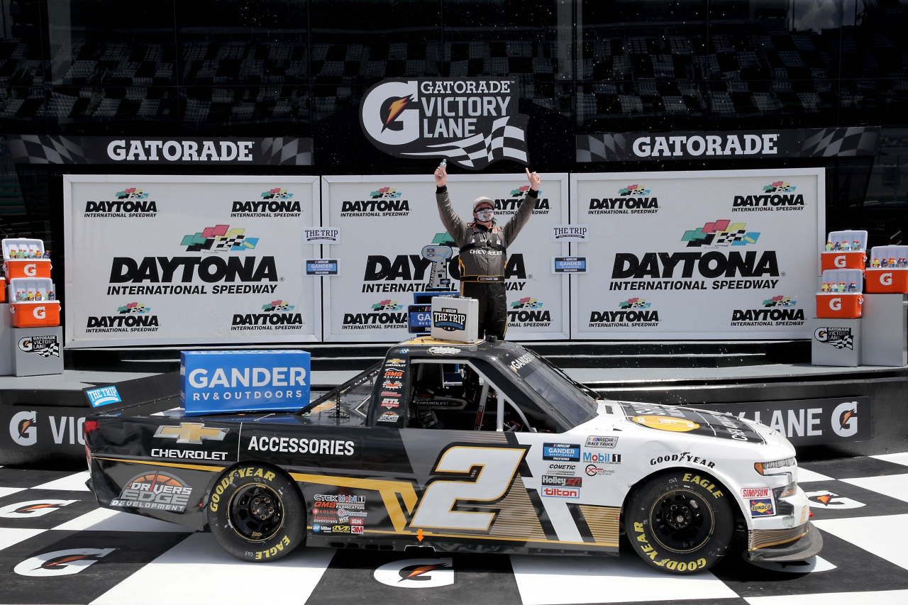 Sheldon Creed in victory lane on the Daytona Road Course - NASCAR Truck Series