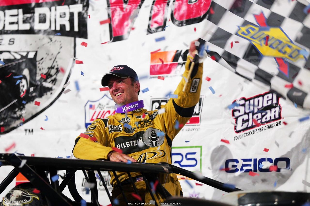 Tim McCreadie in victory lane at Port Royal Speedway - Lucas Oil Series 2635