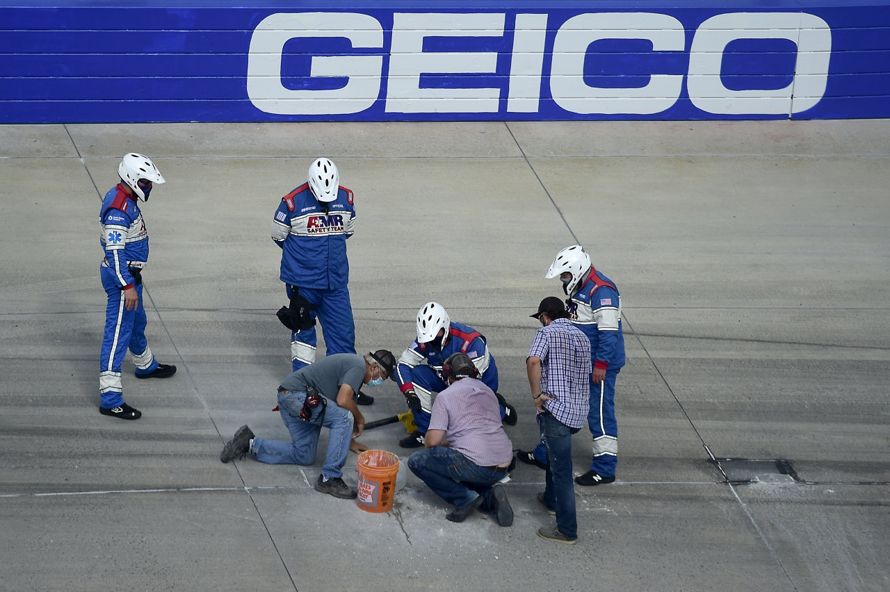 Track repair at Dover International Speedway