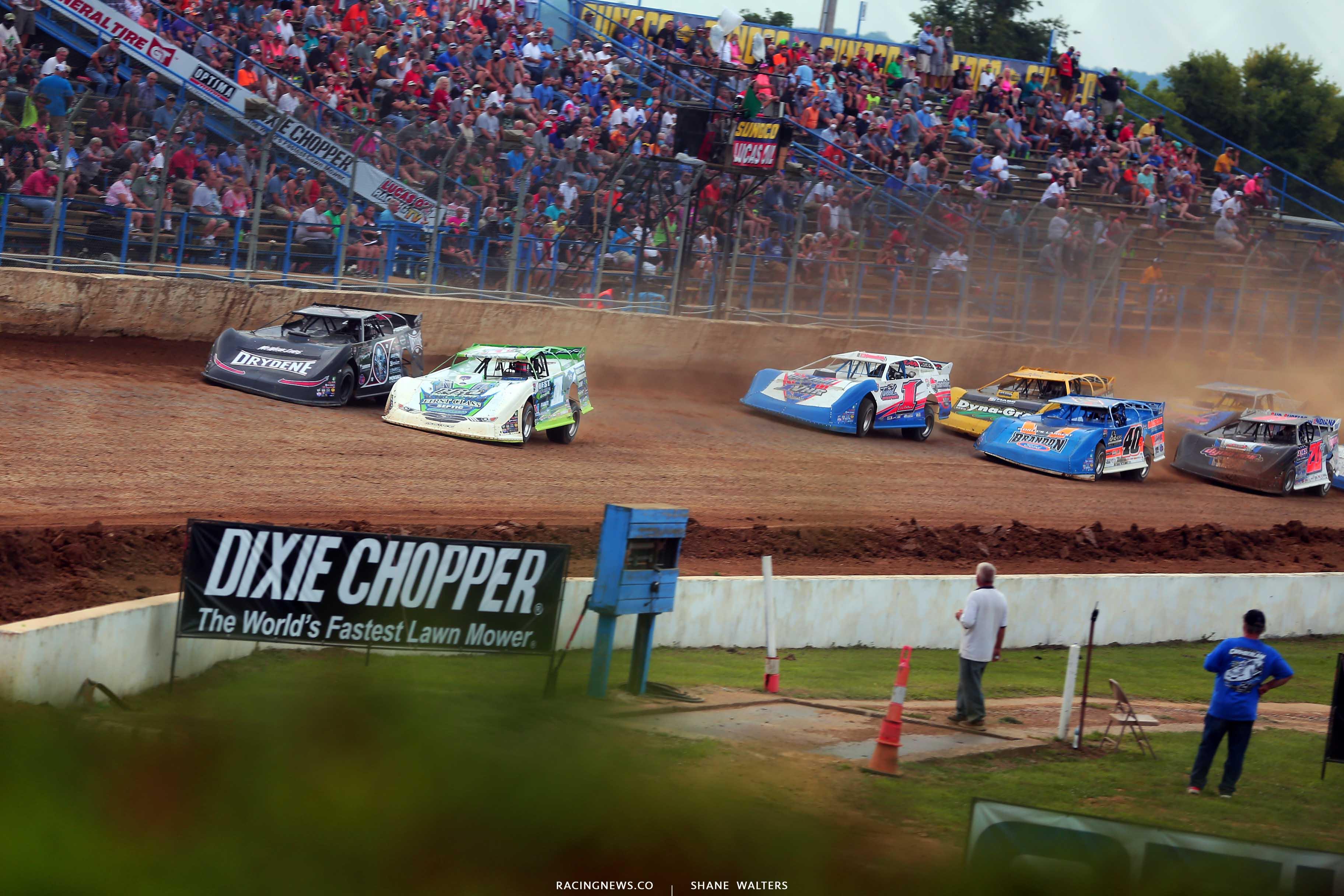 Tyler Erb, Scott Bloomquist, Kyle Bronson, Billy Moyer Jr and Ricky Thornton Jr at Florence Speedway - Lucas Oil Late Models 0960