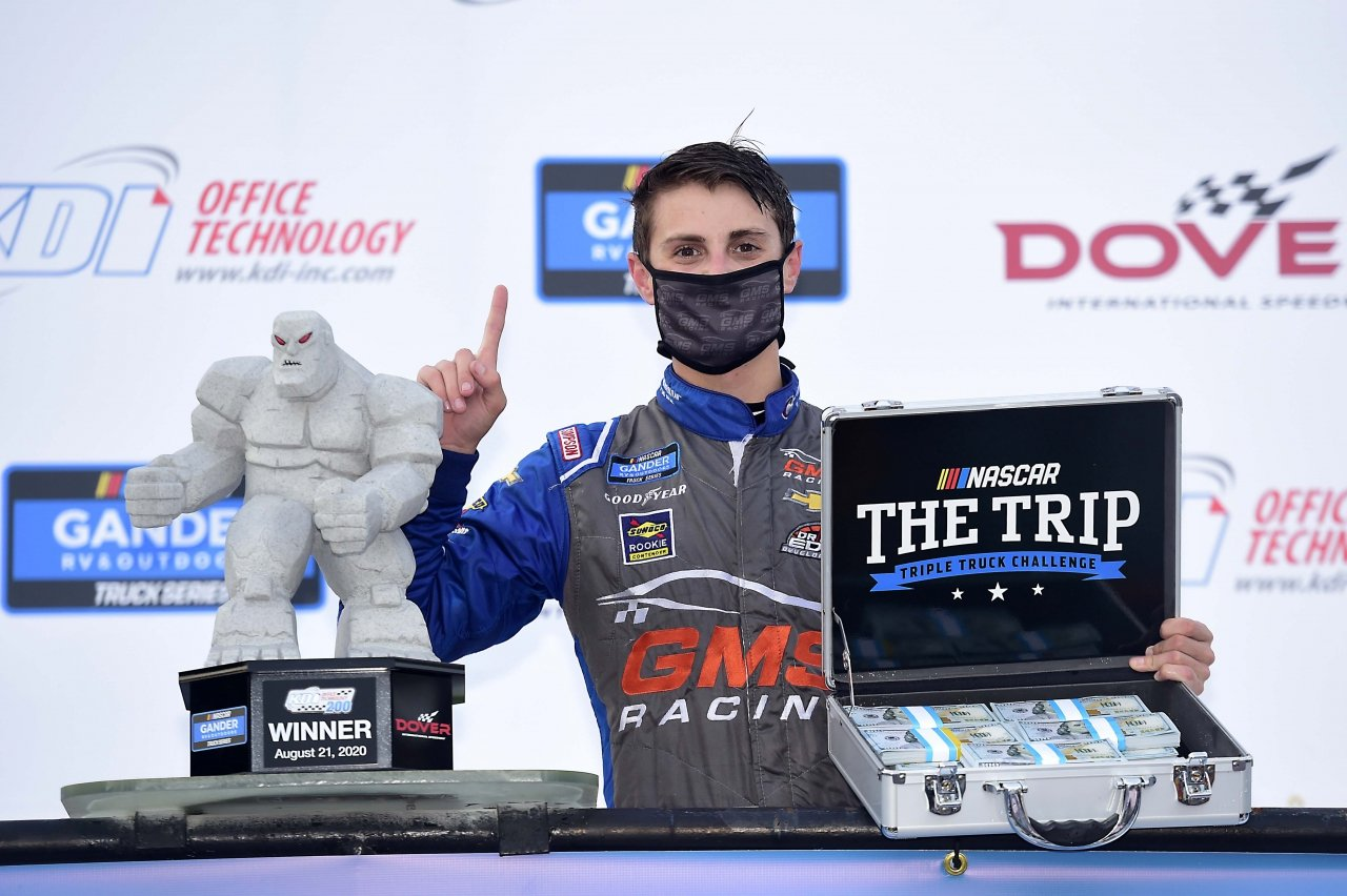 Zane Smith in victory lane with $50,000 - NASCAR Truck Series at Dover International Speedway