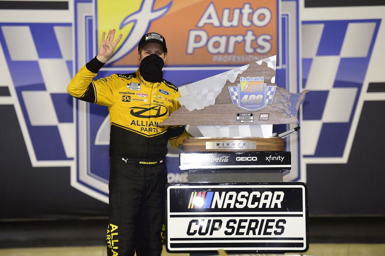 Brad Keselowski in victory lane at Richmond Raceway - NASCAR Cup Series
