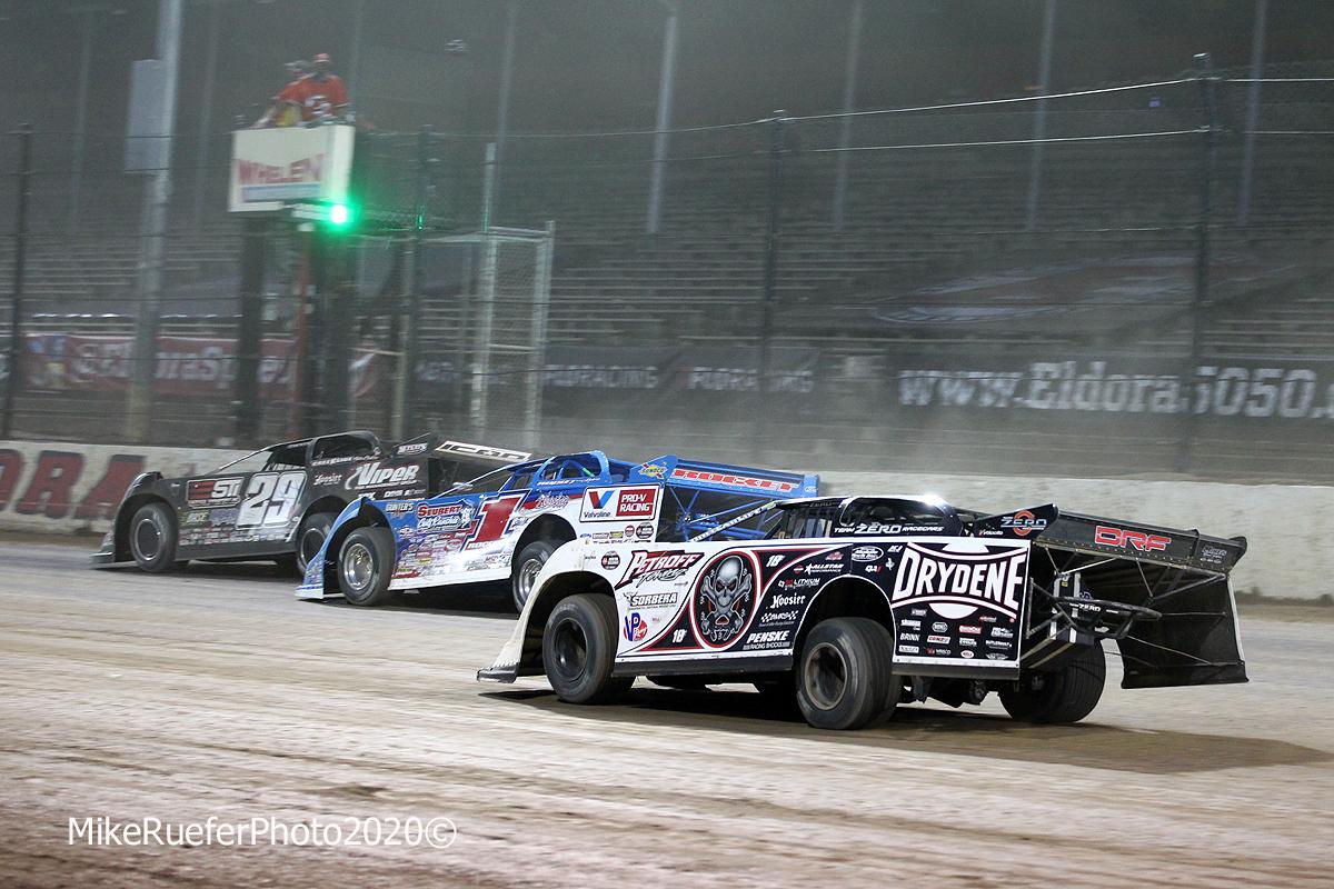 Darrell Lanigan, Brandon Sheppard and Scott Bloomquist at Eldora Speedway