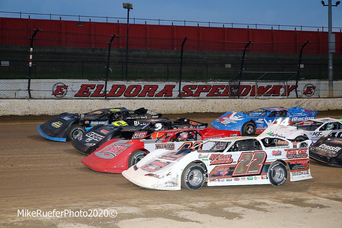 Four wide salute at Eldora Speedway