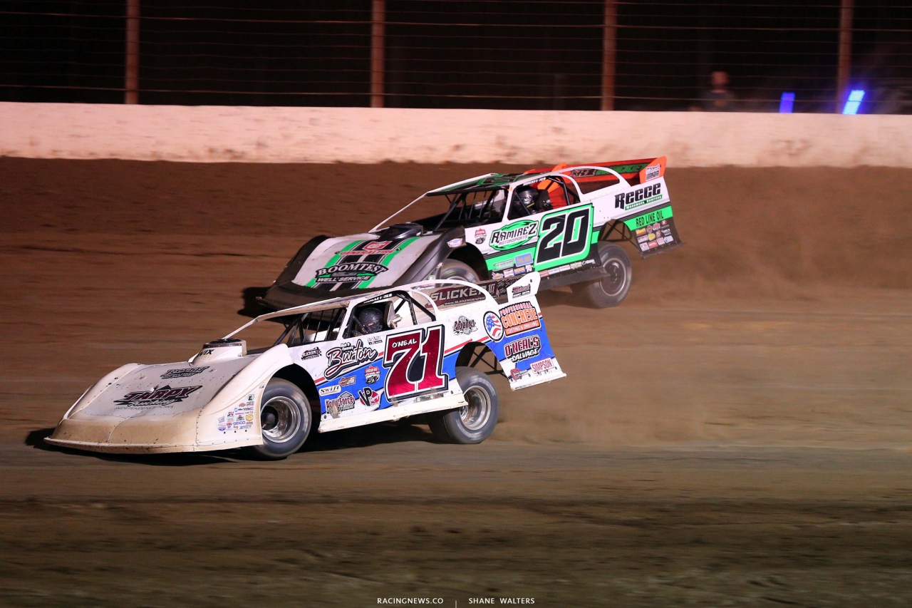 Hudson O'Neal and Jimmy Owens at Portsmouth Raceway Park - Lucas Oil Late Model Dirt Series 3380