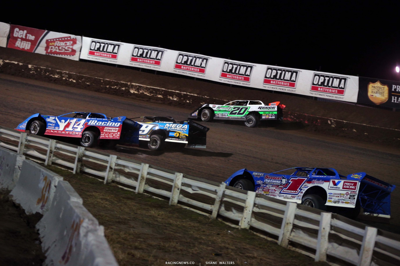 Jimmy Owens, Tim McCreadie, Josh Richards and Brandon Overton - Three wide dirt late model racing - Lucas Series 4051