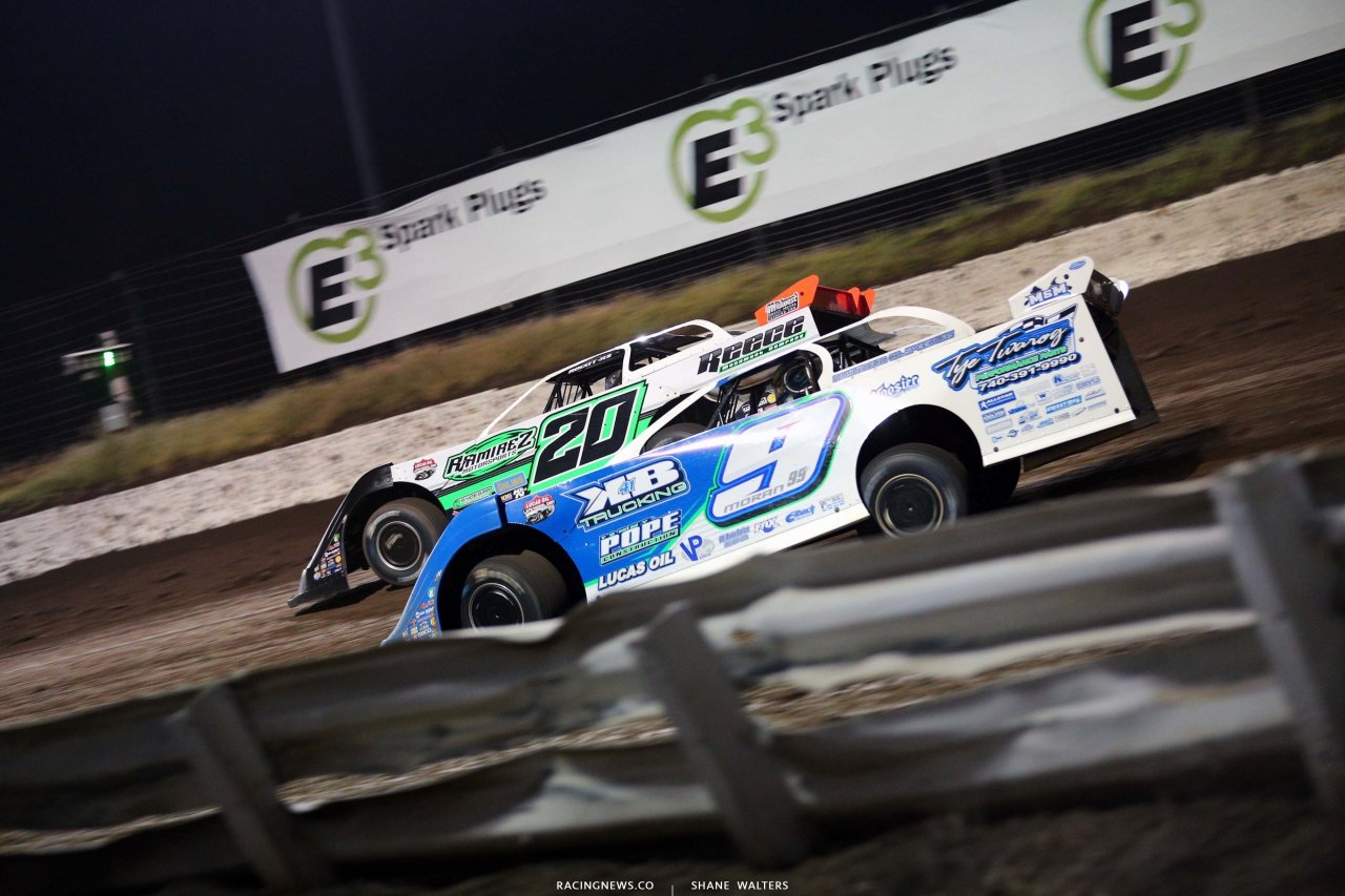 Jimmy Owens and Devin Moran at I-80 Speedway - Dirt Track Racing 3580