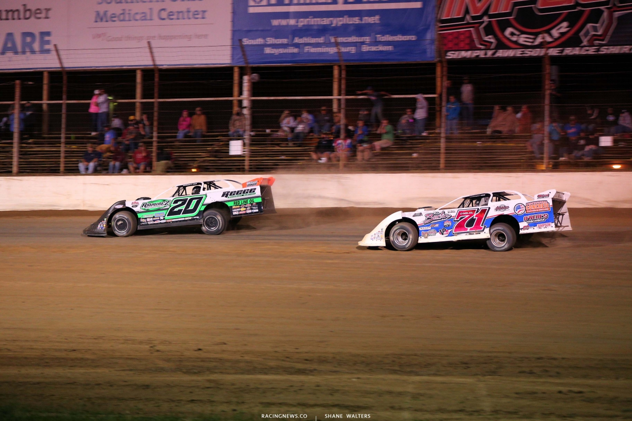 Jimmy Owens and Hudson O'Neal at Portsmouth Raceway Park - Late Model Racing 3375