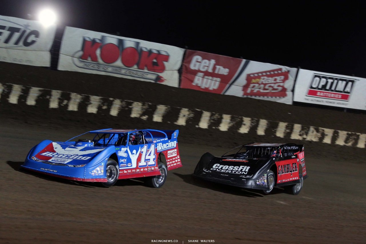 Josh Richards and Brandon Overton at I-80 Speedway - Dirt Late Models 3909