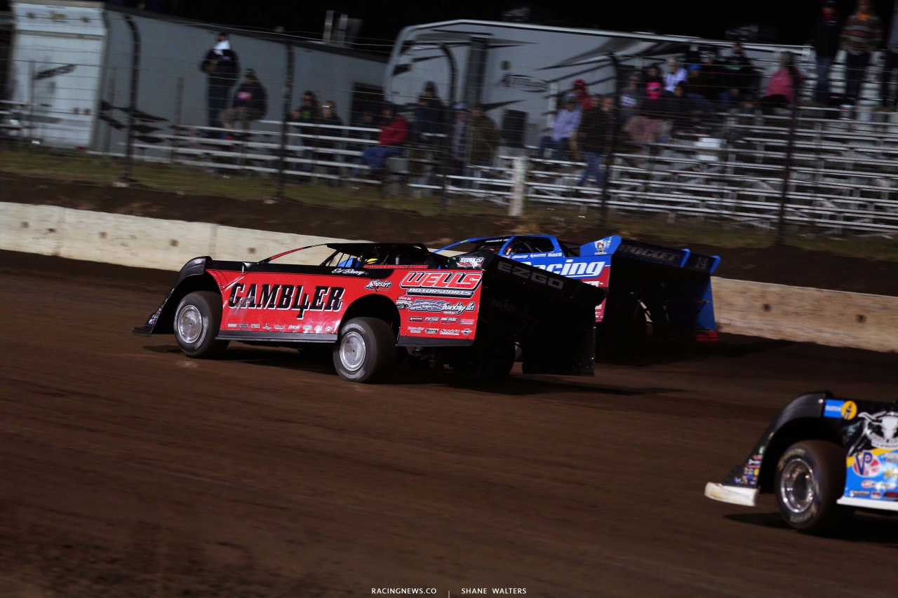 Josh Richards and Brandon Overton at I-80 Speedway - Dirt Track Racing 3947