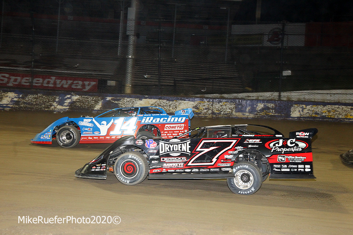 Josh Richards and Ricky Weiss at Eldora Speedway - Dirt Late Model Racing
