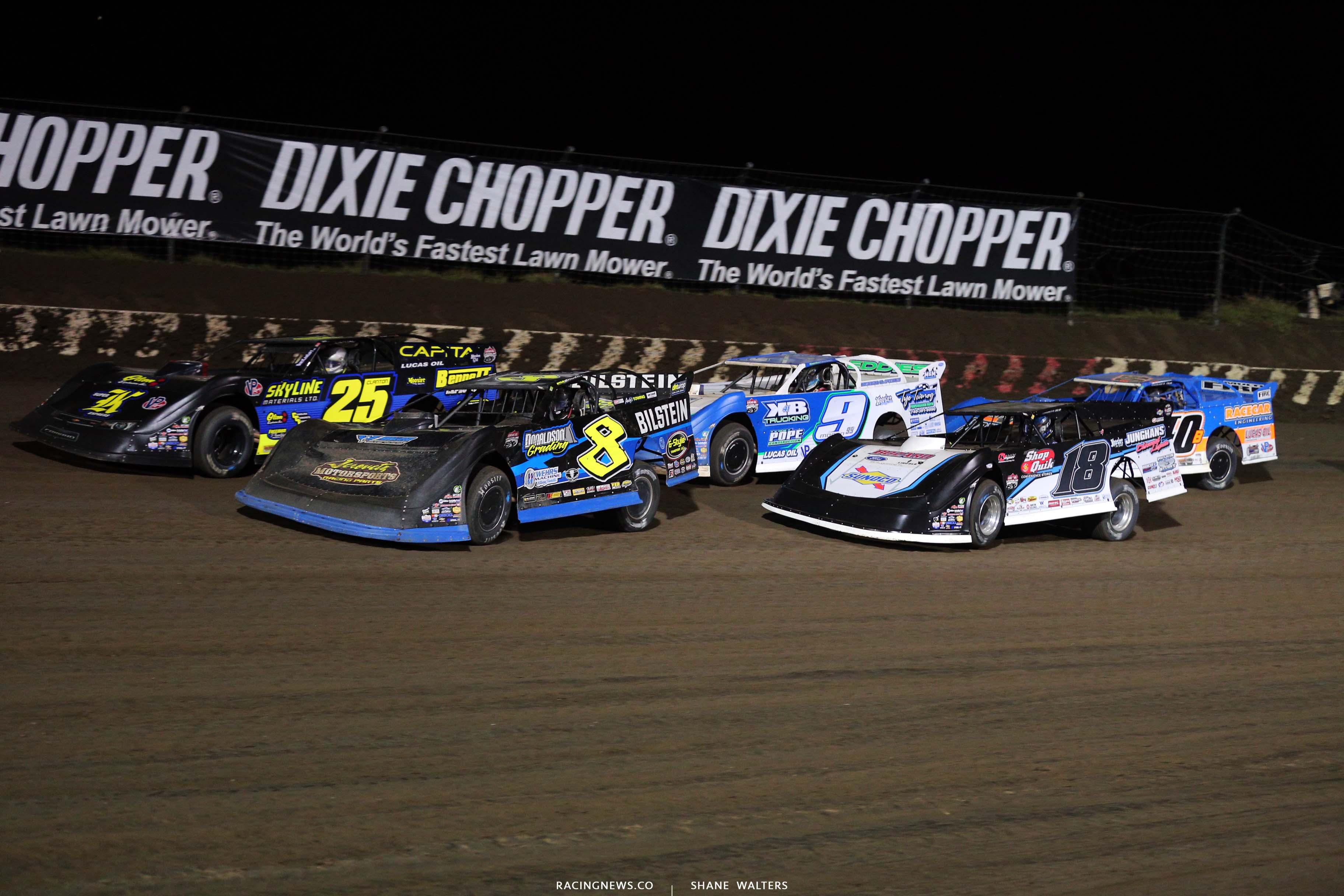 Kyle Strickler, Shane Clanton, Chase Junghans, Devin Moran and Kyle Bronson at I-80 Speedway - Lucas Oil Late Model Dirt Series 3515