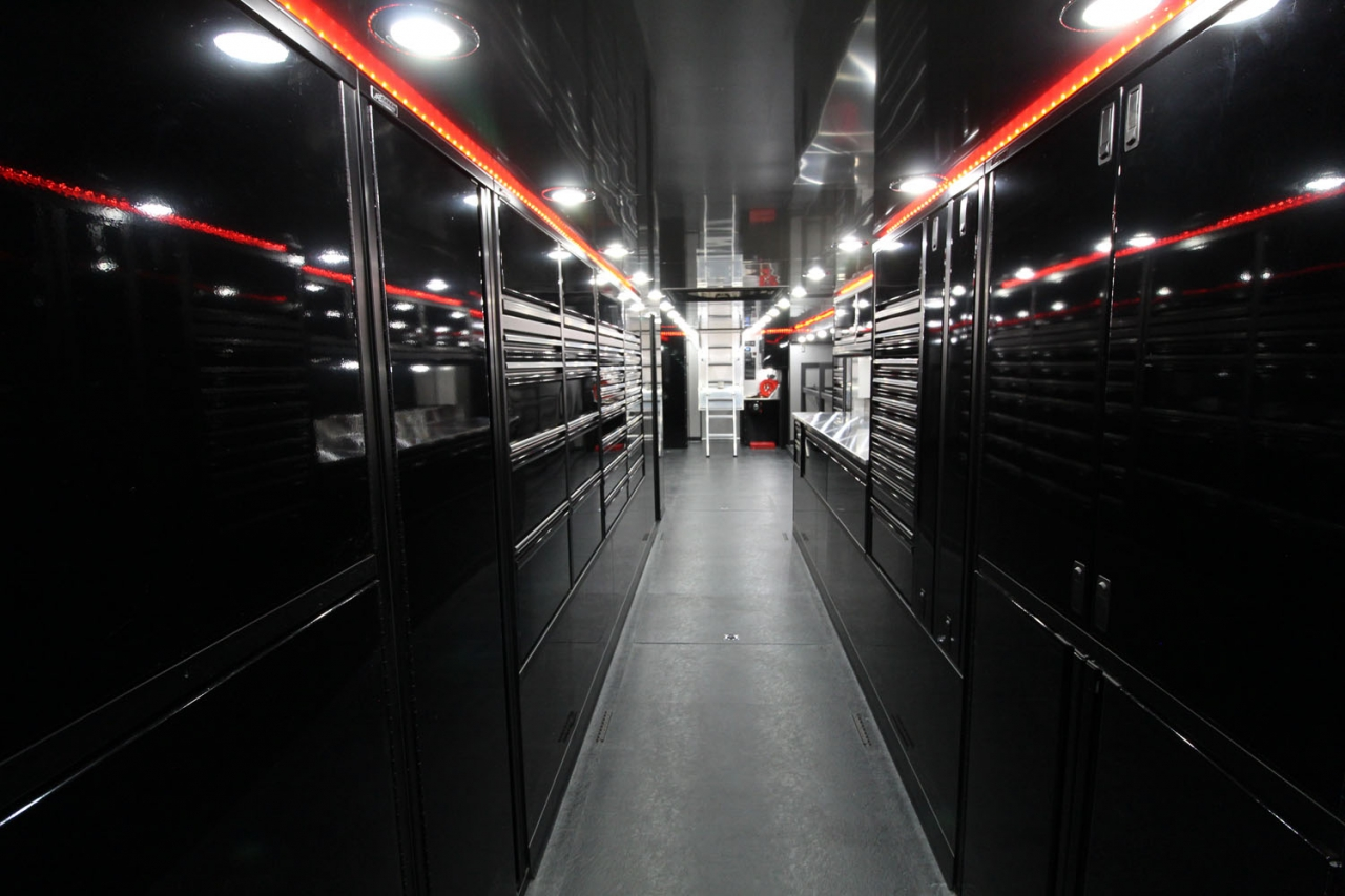 Led lights in trailer for Ricky Weiss Racing