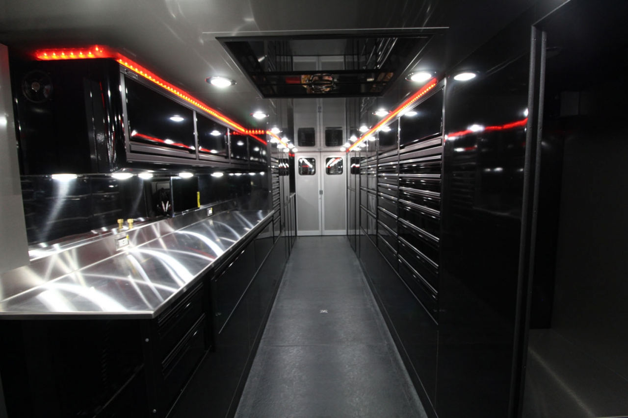 Matte black trailer interior